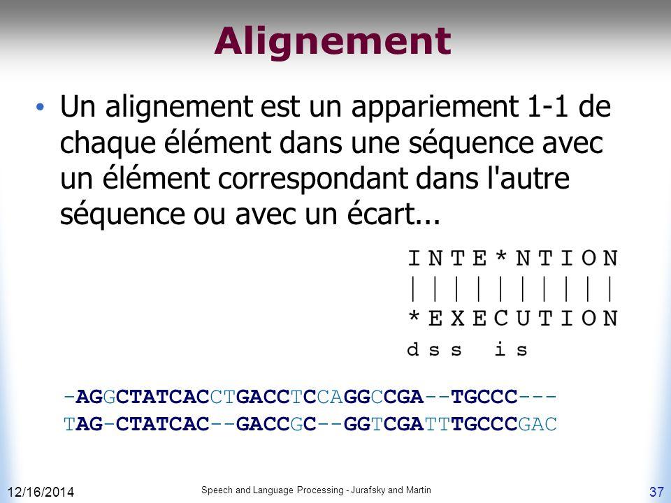 12/16/2014 Speech and Language Processing - Jurafsky and Martin 37 Alignement Un alignement est un appariement 1-1 de chaque élément dans une séquence