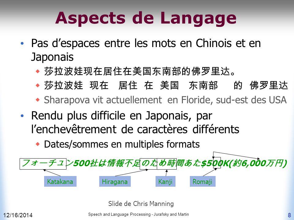 12/16/2014 Speech and Language Processing - Jurafsky and Martin 8 Aspects de Langage Pas d'espaces entre les mots en Chinois et en Japonais  莎拉波娃现在居住