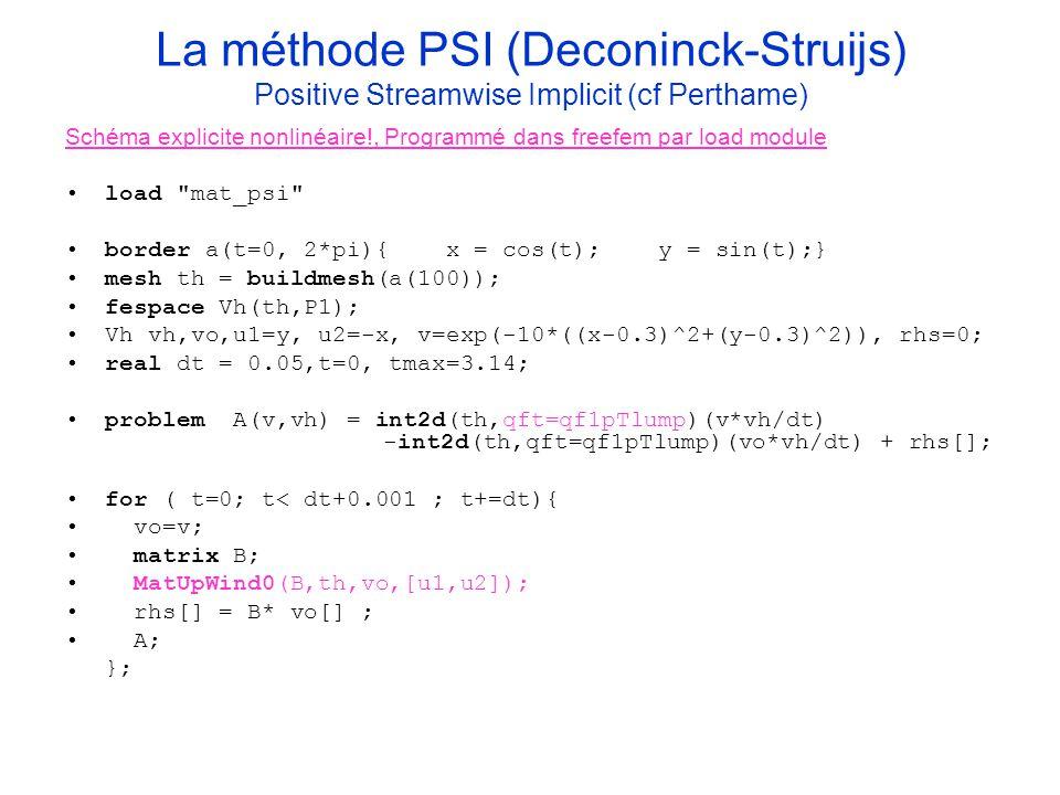 La méthode PSI (Deconinck-Struijs) Positive Streamwise Implicit (cf Perthame) Schéma explicite nonlinéaire!, Programmé dans freefem par load module lo