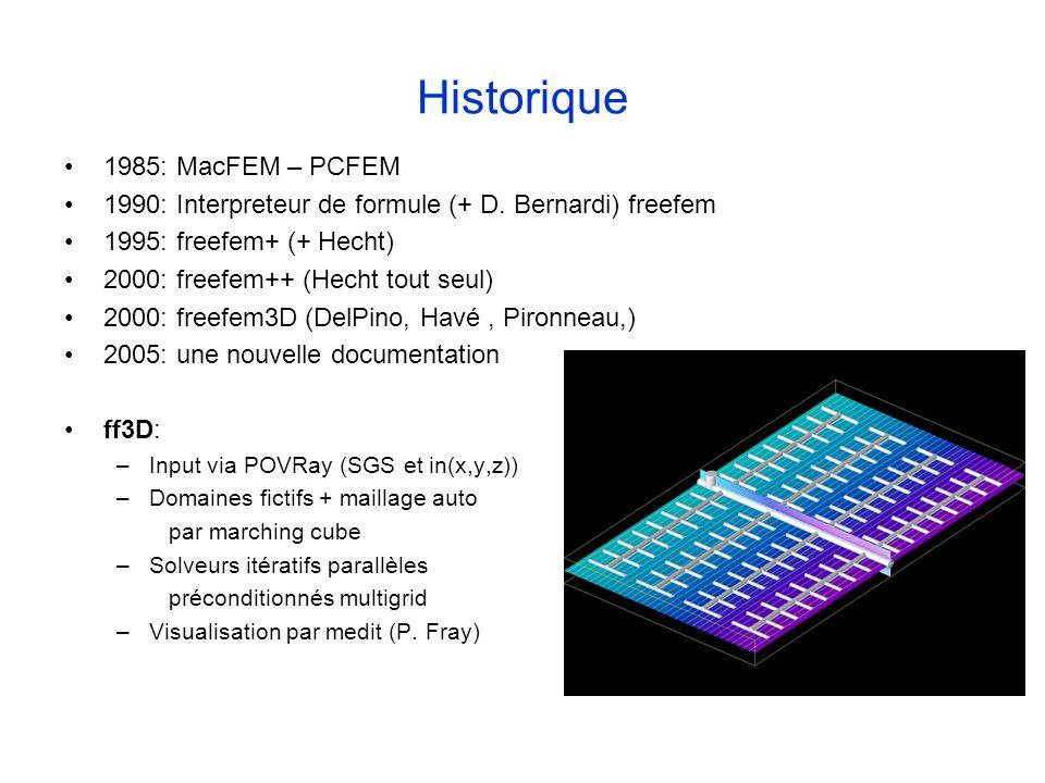 Historique 1985: MacFEM – PCFEM 1990: Interpreteur de formule (+ D. Bernardi) freefem 1995: freefem+ (+ Hecht) 2000: freefem++ (Hecht tout seul) 2000: