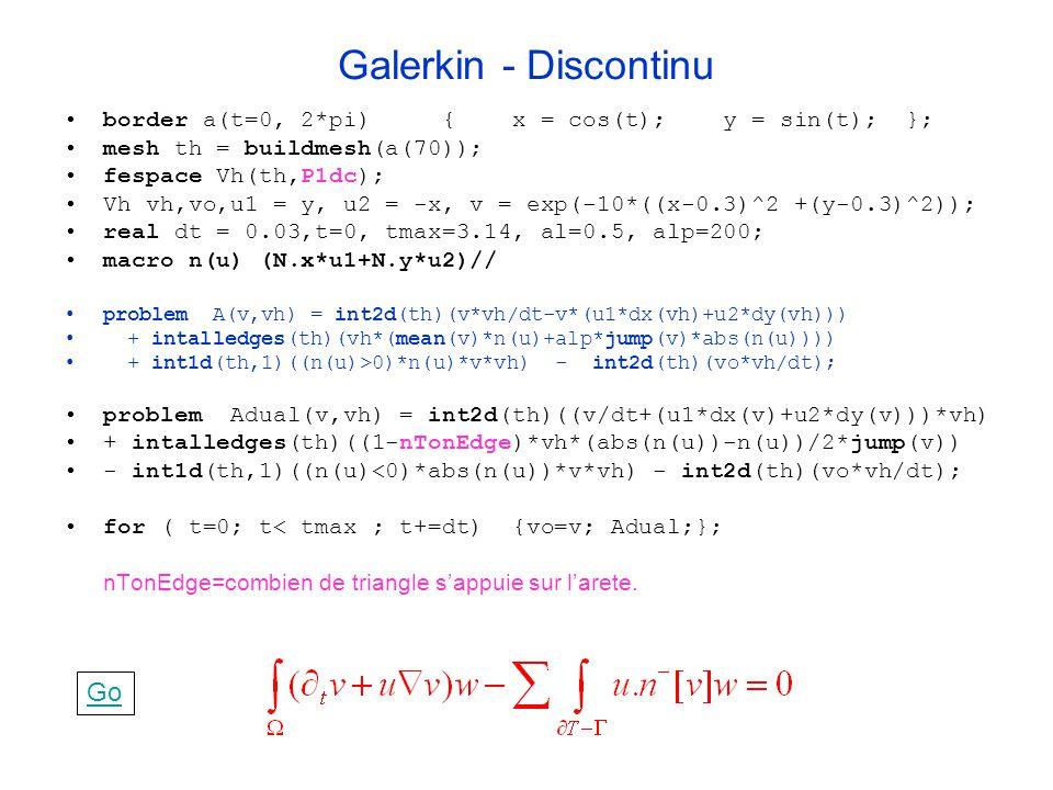 Galerkin - Discontinu border a(t=0, 2*pi) { x = cos(t); y = sin(t); }; mesh th = buildmesh(a(70)); fespace Vh(th,P1dc); Vh vh,vo,u1 = y, u2 = -x, v =