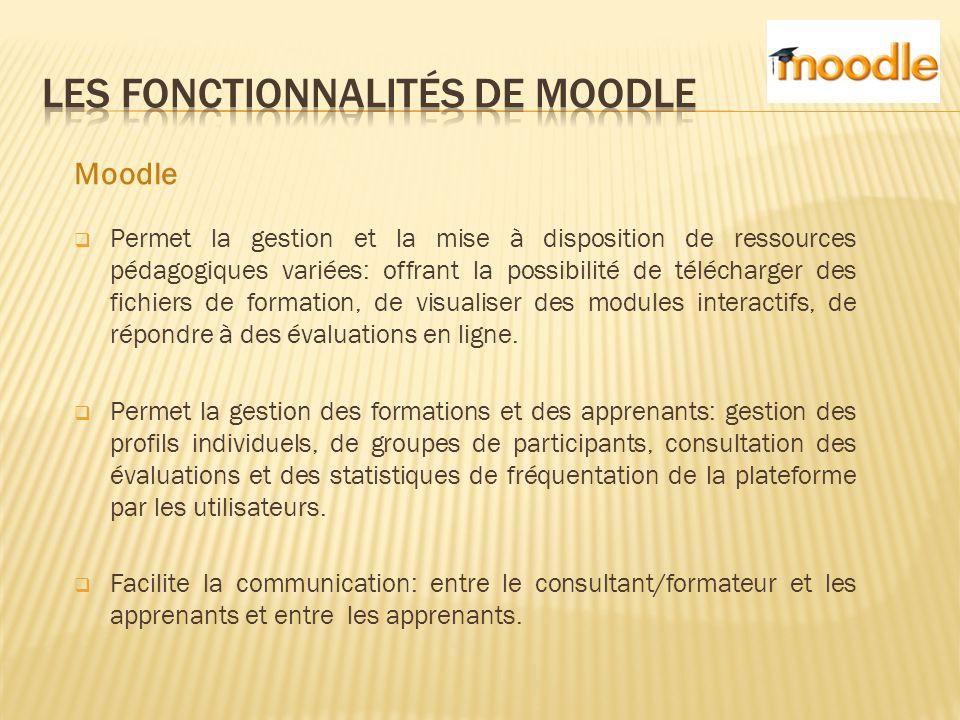 Moodle  Permet la gestion et la mise à disposition de ressources pédagogiques variées: offrant la possibilité de télécharger des fichiers de formation, de visualiser des modules interactifs, de répondre à des évaluations en ligne.