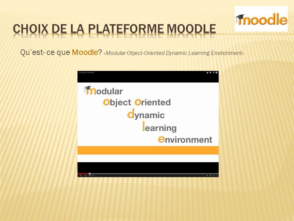 Moodle est une plateforme, un environnement virtuel d'apprentissage dynamique qui s'appuie sur un CMS ou Système de Gestion de Contenu.