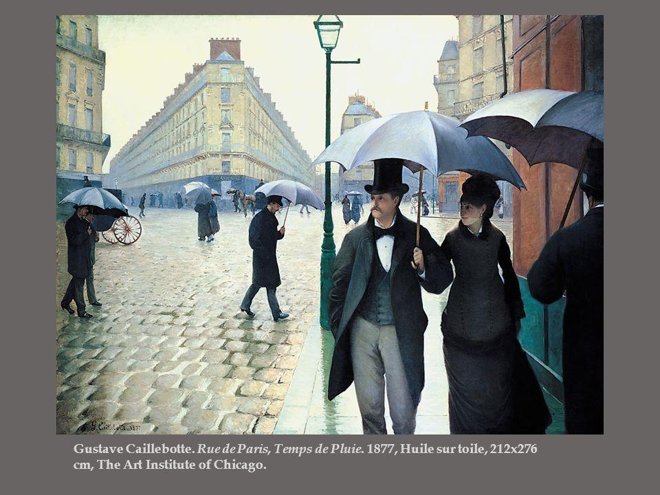 Gustave Caillebotte. Rue de Paris, Temps de Pluie. 1877, Huile sur toile, 212x276 cm, The Art Institute of Chicago.