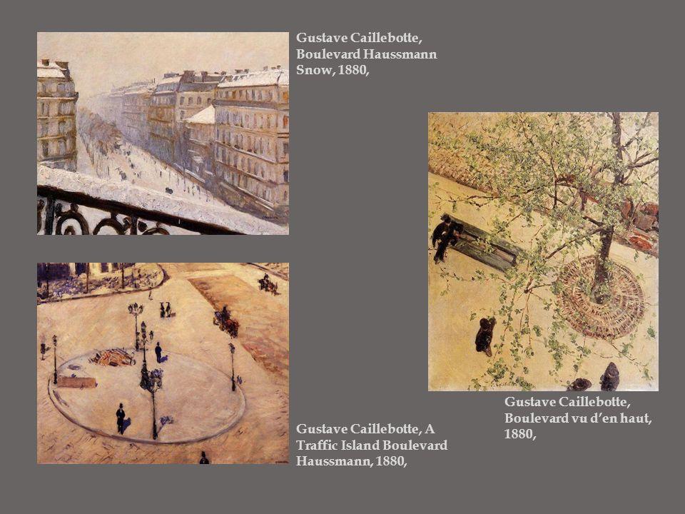 Gustave Caillebotte, Boulevard Haussmann Snow, 1880, Gustave Caillebotte, Boulevard vu d'en haut, 1880, Gustave Caillebotte, A Traffic Island Boulevar