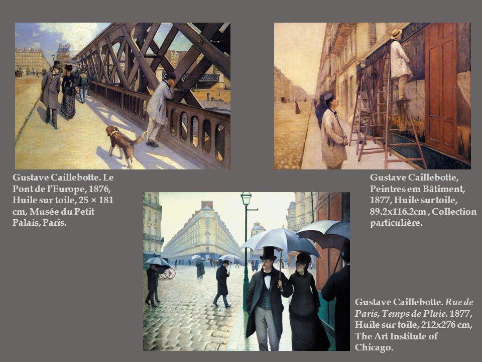 Gustave Caillebotte. Le Pont de l'Europe, 1876, Huile sur toile, 25 × 181 cm, Musée du Petit Palais, Paris. Gustave Caillebotte. Rue de Paris, Temps d