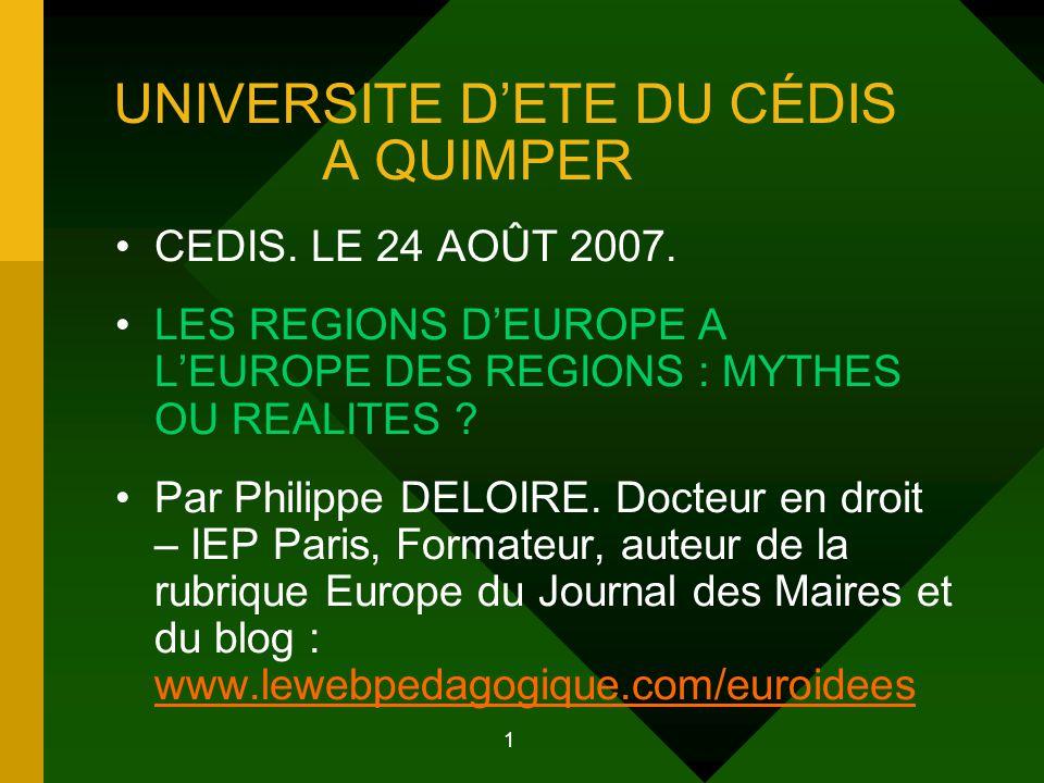 2 PLAN DE L'INTERVENTION 1.LES REGIONS D'EUROPE. 1.1.