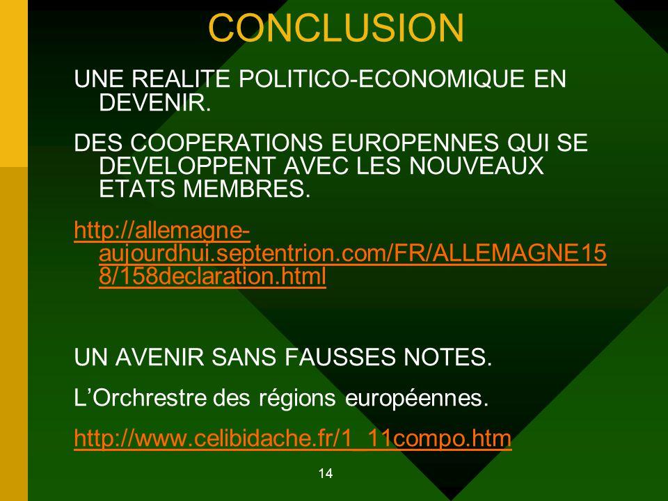14 CONCLUSION UNE REALITE POLITICO-ECONOMIQUE EN DEVENIR.