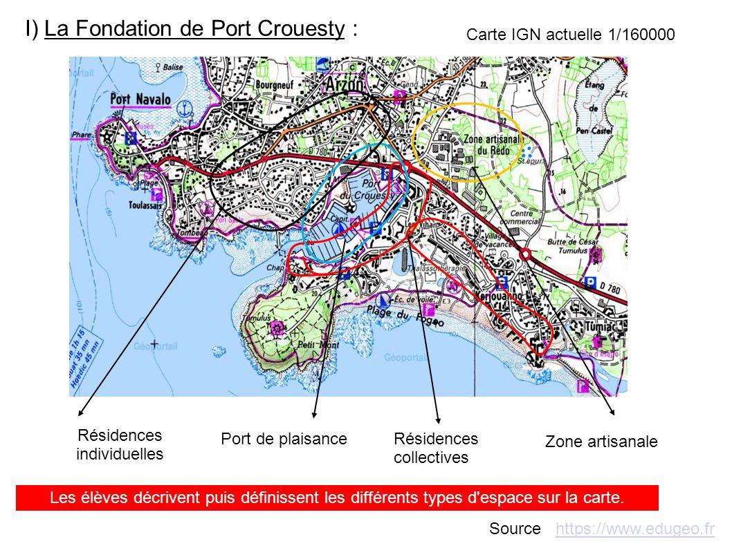 I) La Fondation de Port Crouesty : Résidences individuelles Port de plaisanceRésidences collectives Zone artisanale Les élèves décrivent puis définiss