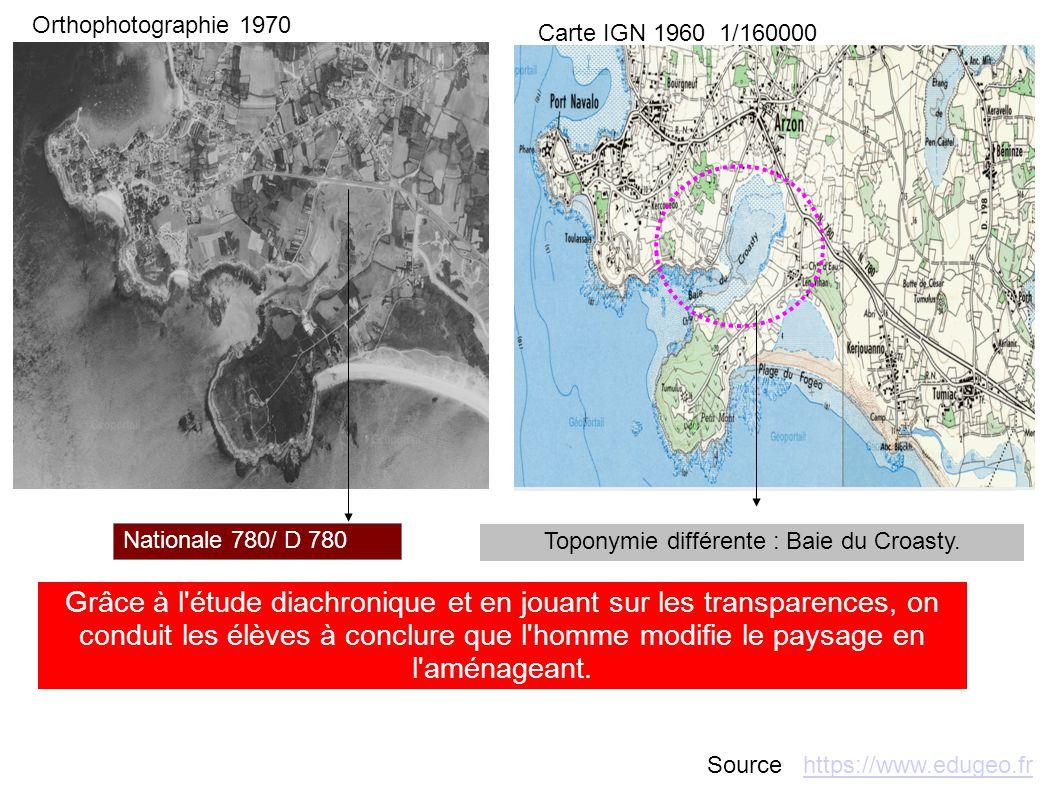 Nationale 780/ D 780 Toponymie différente : Baie du Croasty. Grâce à l'étude diachronique et en jouant sur les transparences, on conduit les élèves à