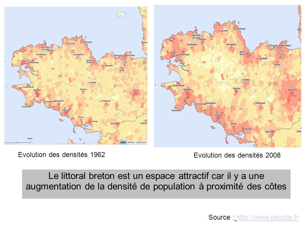 Le littoral breton est un espace attractif car il y a une augmentation de la densité de population à proximité des côtes Source : http://www.geoclip.f