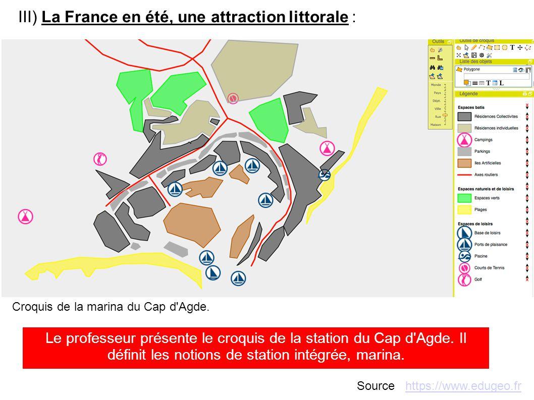 III) La France en été, une attraction littorale : Croquis de la marina du Cap d'Agde. Le professeur présente le croquis de la station du Cap d'Agde. I
