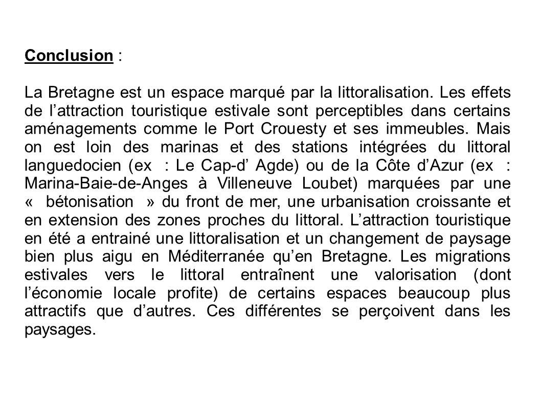 Conclusion : La Bretagne est un espace marqué par la littoralisation. Les effets de l'attraction touristique estivale sont perceptibles dans certains