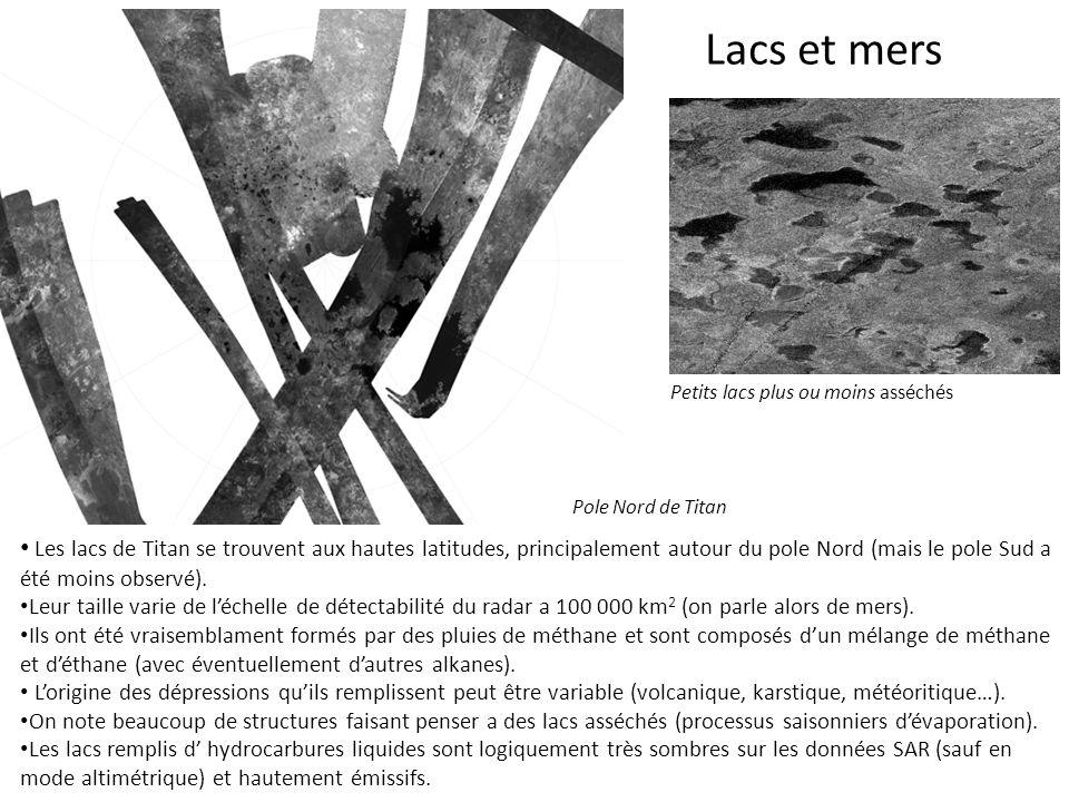 Lacs et mers Les lacs de Titan se trouvent aux hautes latitudes, principalement autour du pole Nord (mais le pole Sud a été moins observé). Leur taill