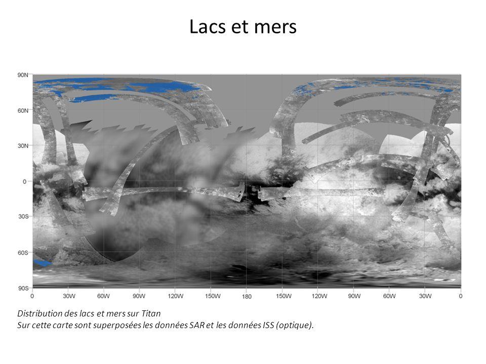Lacs et mers Distribution des lacs et mers sur Titan Sur cette carte sont superposées les données SAR et les données ISS (optique).