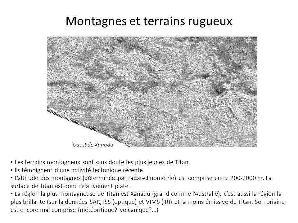 Montagnes et terrains rugueux Les terrains montagneux sont sans doute les plus jeunes de Titan. Ils témoignent d'une activité tectonique récente. L'al
