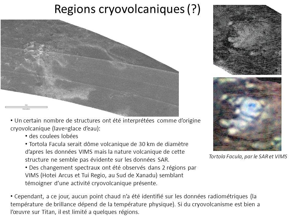 Regions cryovolcaniques (?) Un certain nombre de structures ont été interprétées comme d'origine cryovolcanique (lave=glace d'eau): des coulees lobées