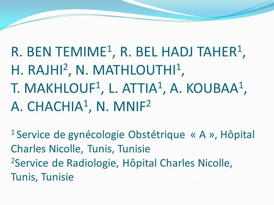 R.BEN TEMIME 1, R. BEL HADJ TAHER 1, H. RAJHI 2, N.