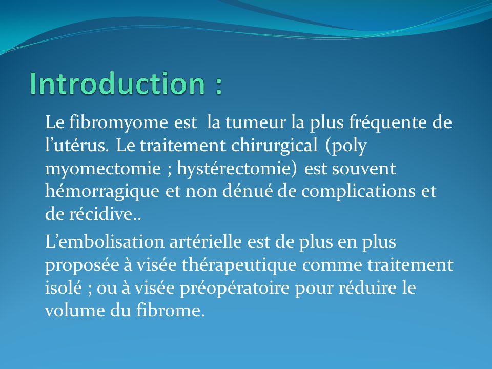 Etudier la place, les indications et les résultats de l'embolisation des fibromes utérins comme une technique alternative à la chirurgie.