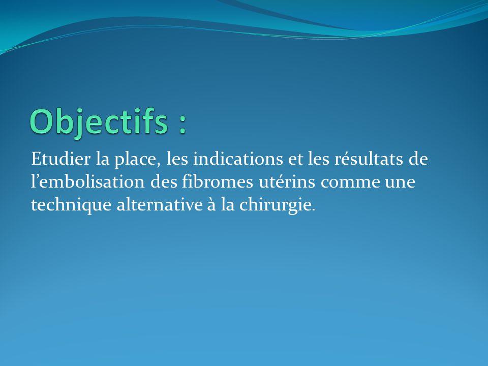 - Etude prospective à propos de 6 cas d'embolisation de fibromes utérins.
