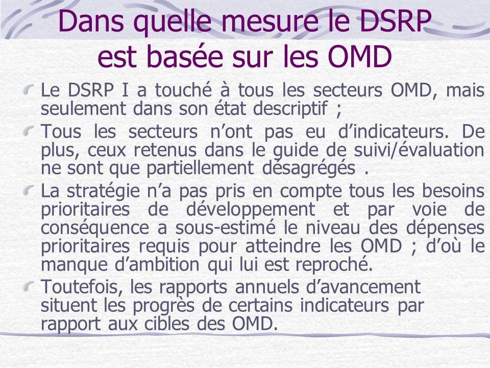 Dans quelle mesure le DSRP est basée sur les OMD Le DSRP I a touché à tous les secteurs OMD, mais seulement dans son état descriptif ; Tous les secteurs n'ont pas eu d'indicateurs.