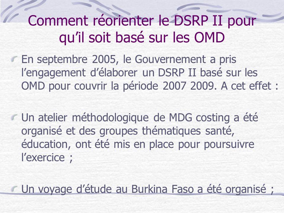 Comment réorienter le DSRP II pour qu'il soit basé sur les OMD (suite) Il est prévu un forum national sur les approches conceptuelles et méthodologiques du DSRP II Les TDR et un chronogramme allant de novembre 2005 à décembre 2006 a été élaboré