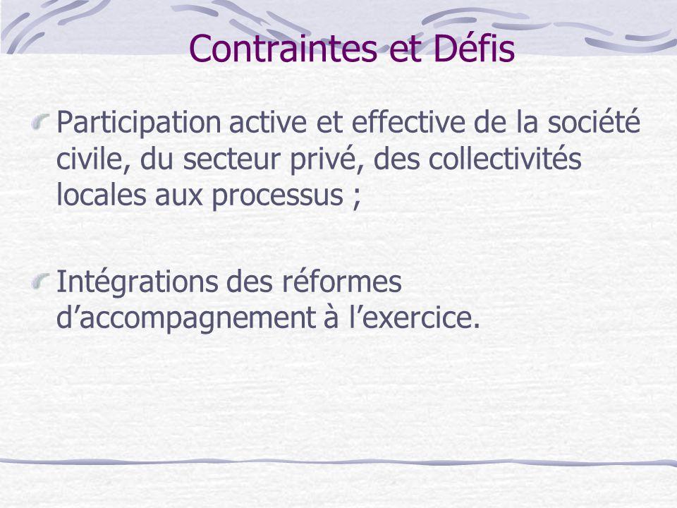 Contraintes et Défis Participation active et effective de la société civile, du secteur privé, des collectivités locales aux processus ; Intégrations des réformes d'accompagnement à l'exercice.