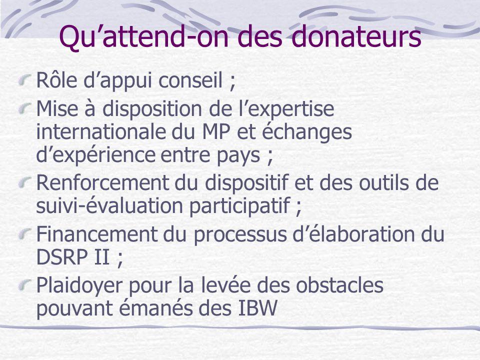 Qu'attend-on des donateurs Rôle d'appui conseil ; Mise à disposition de l'expertise internationale du MP et échanges d'expérience entre pays ; Renforcement du dispositif et des outils de suivi-évaluation participatif ; Financement du processus d'élaboration du DSRP II ; Plaidoyer pour la levée des obstacles pouvant émanés des IBW