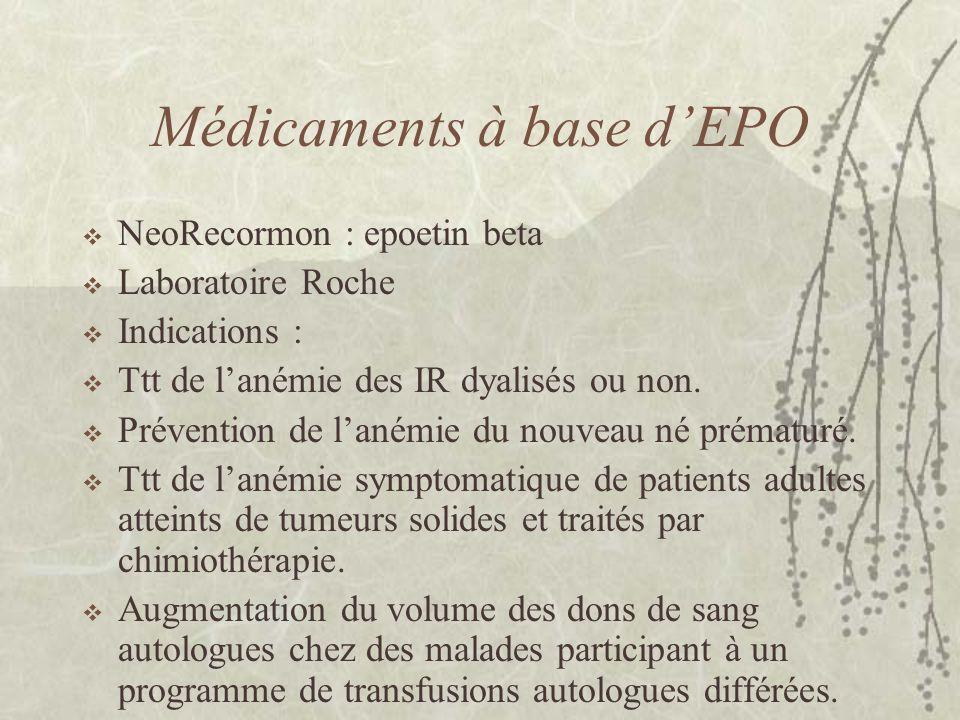 Médicaments à base d'EPO  NeoRecormon : epoetin beta  Laboratoire Roche  Indications :  Ttt de l'anémie des IR dyalisés ou non.  Prévention de l'
