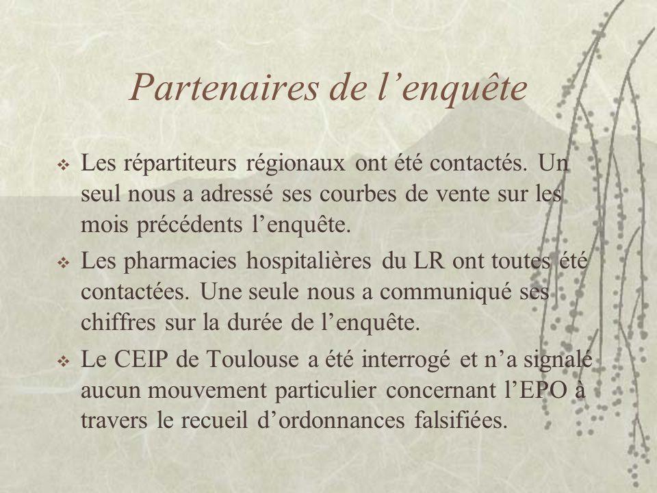 Partenaires de l'enquête  Les répartiteurs régionaux ont été contactés.