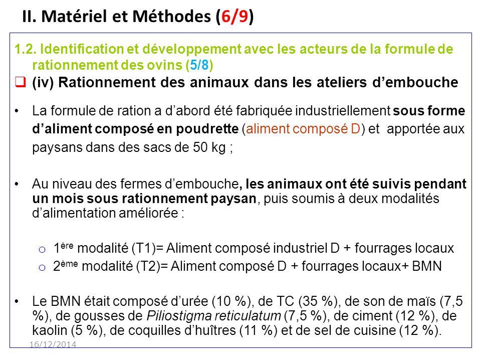 II.Matériel et Méthodes (6/9) 1.2.