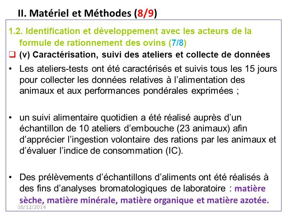 II.Matériel et Méthodes (8/9) 1.2.