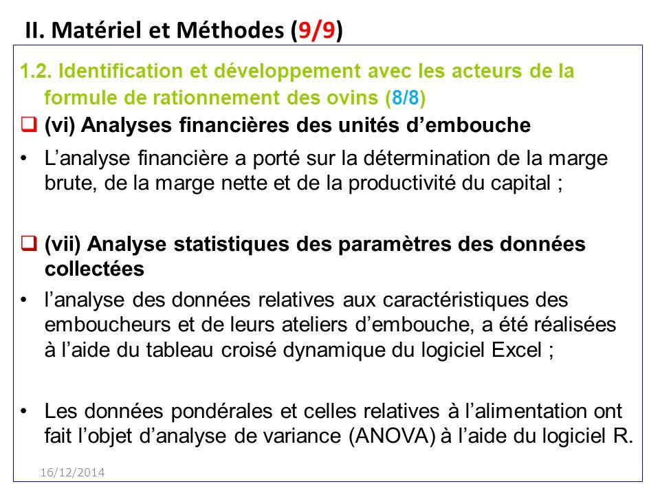 II.Matériel et Méthodes (9/9) 1.2.