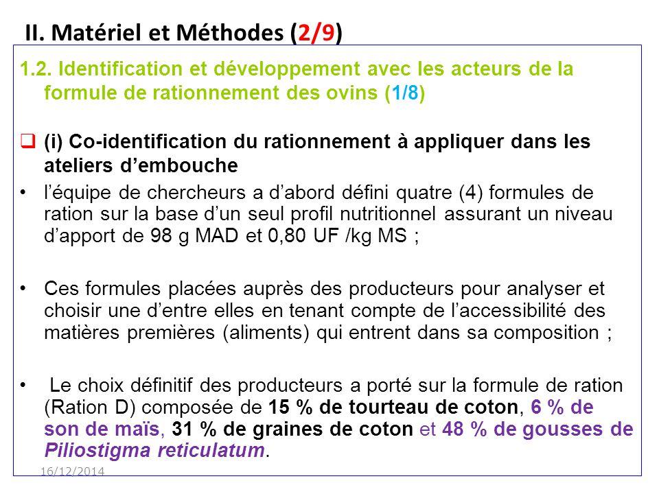II.Matériel et Méthodes (2/9) 1.2.