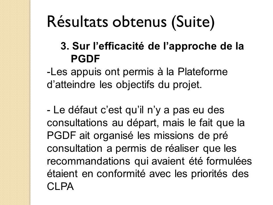 Résultats obtenus (Suite) 3. Sur l'efficacité de l'approche de la PGDF -Les appuis ont permis à la Plateforme d'atteindre les objectifs du projet. - L