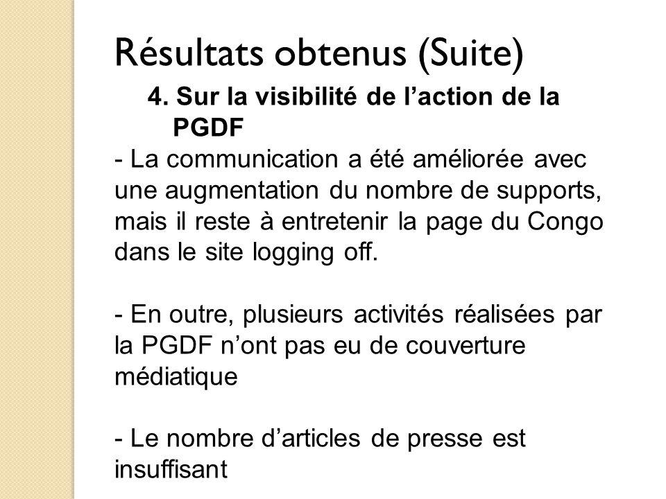 Résultats obtenus (Suite) 4. Sur la visibilité de l'action de la PGDF - La communication a été améliorée avec une augmentation du nombre de supports,
