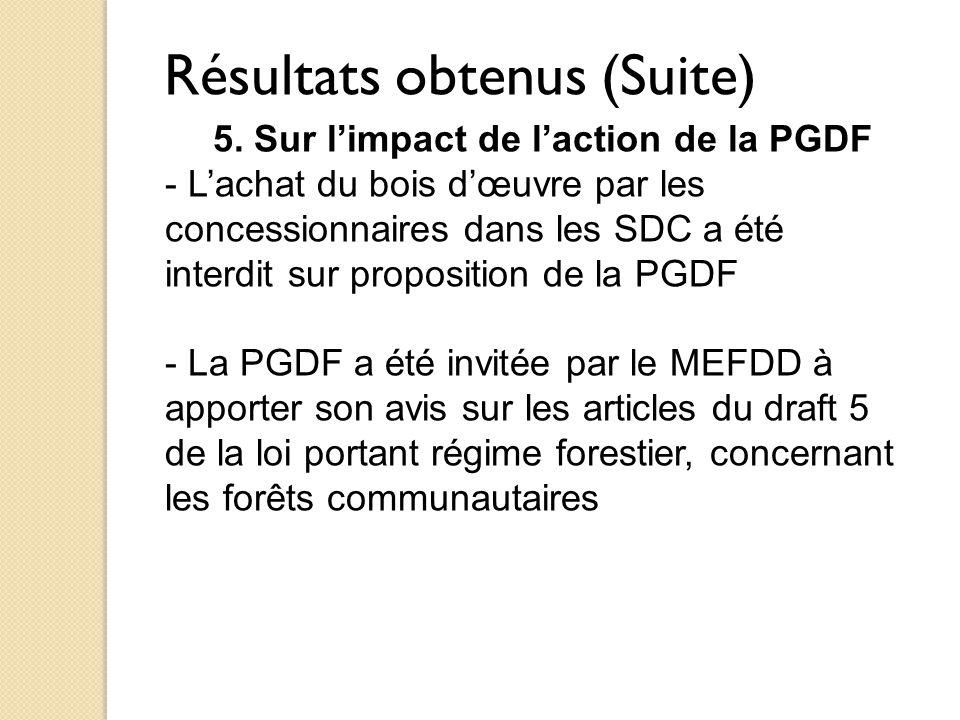 Résultats obtenus (Suite) 5. Sur l'impact de l'action de la PGDF - L'achat du bois d'œuvre par les concessionnaires dans les SDC a été interdit sur pr