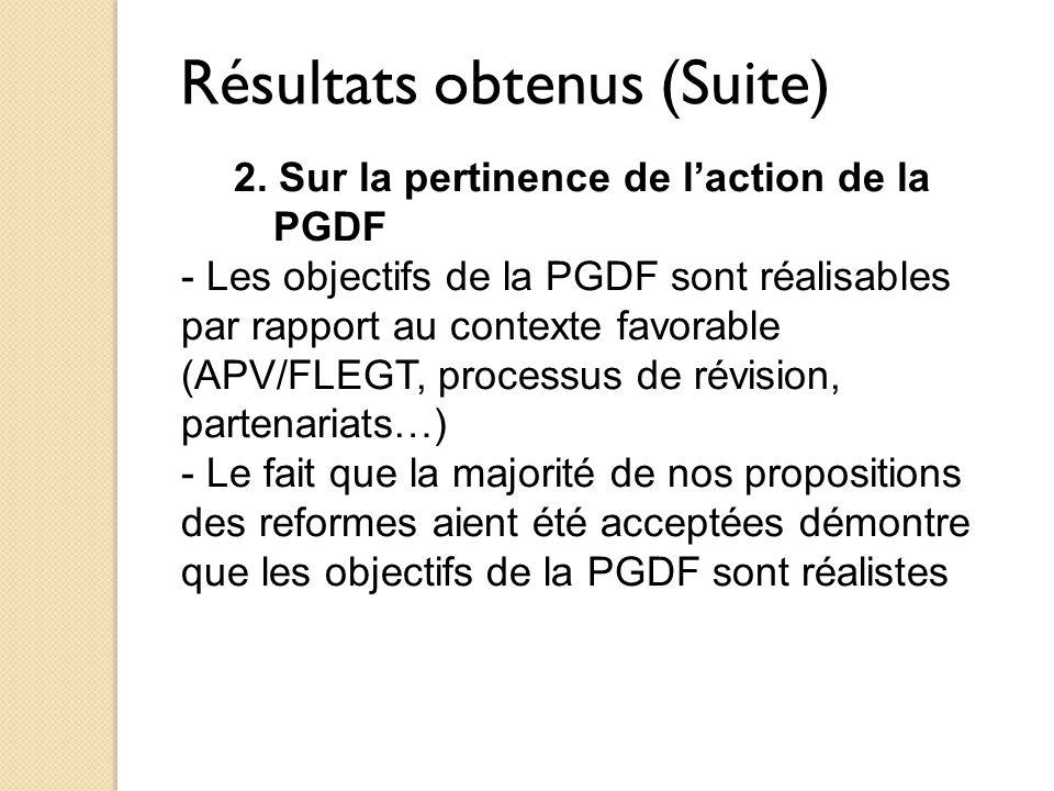 Résultats obtenus (Suite) 2. Sur la pertinence de l'action de la PGDF - Les objectifs de la PGDF sont réalisables par rapport au contexte favorable (A