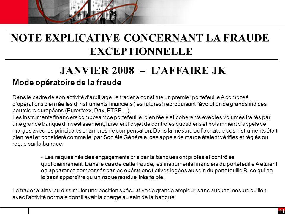 11 NOTE EXPLICATIVE CONCERNANT LA FRAUDE EXCEPTIONNELLE JANVIER 2008 – L'AFFAIRE JK Mode opératoire de la fraude Dans le cadre de son activité d'arbitrage, le trader a constitué un premier portefeuille A composé d'opérations bien réelles d'instruments financiers (les futures) reproduisant l'évolution de grands indices boursiers européens (Eurostoxx, Dax, FTSE…).