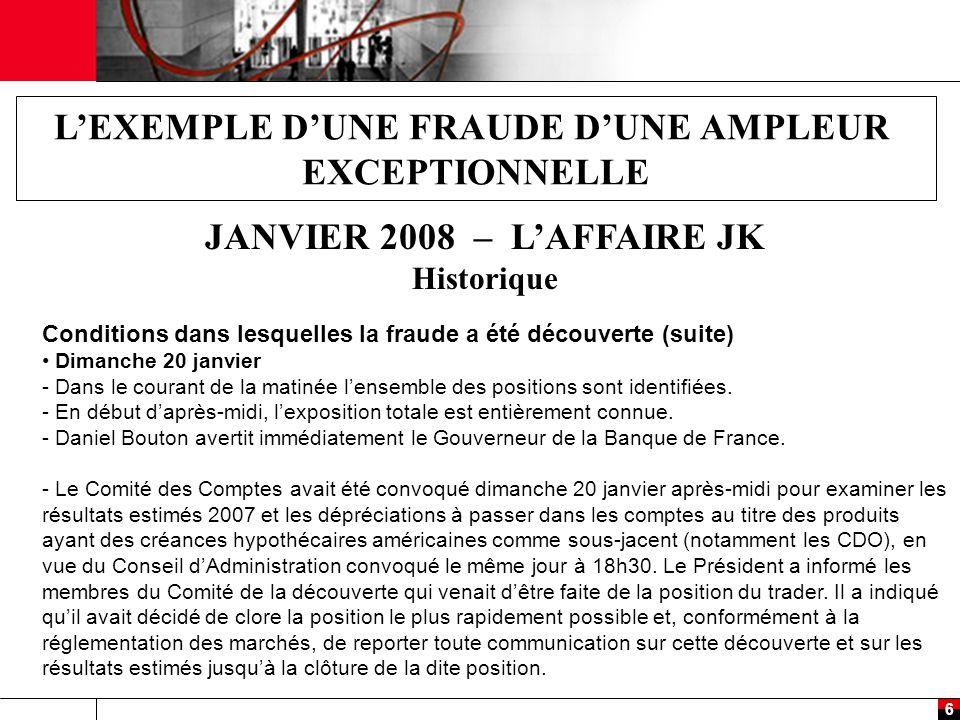 7 L'EXEMPLE D'UNE FRAUDE D'UNE AMPLEUR EXCEPTIONNELLE JANVIER 2008 – L'AFFAIRE JK Historique Conditions dans lesquelles la fraude a été découverte (suite) Dimanche 20 janvier (suite) - Daniel Bouton a ensuite informé le Secrétaire Général de l'AMF.