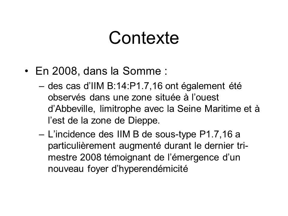 Contexte En 2008, dans la Somme : –des cas d'IIM B:14:P1.7,16 ont également été observés dans une zone située à l'ouest d'Abbeville, limitrophe avec l