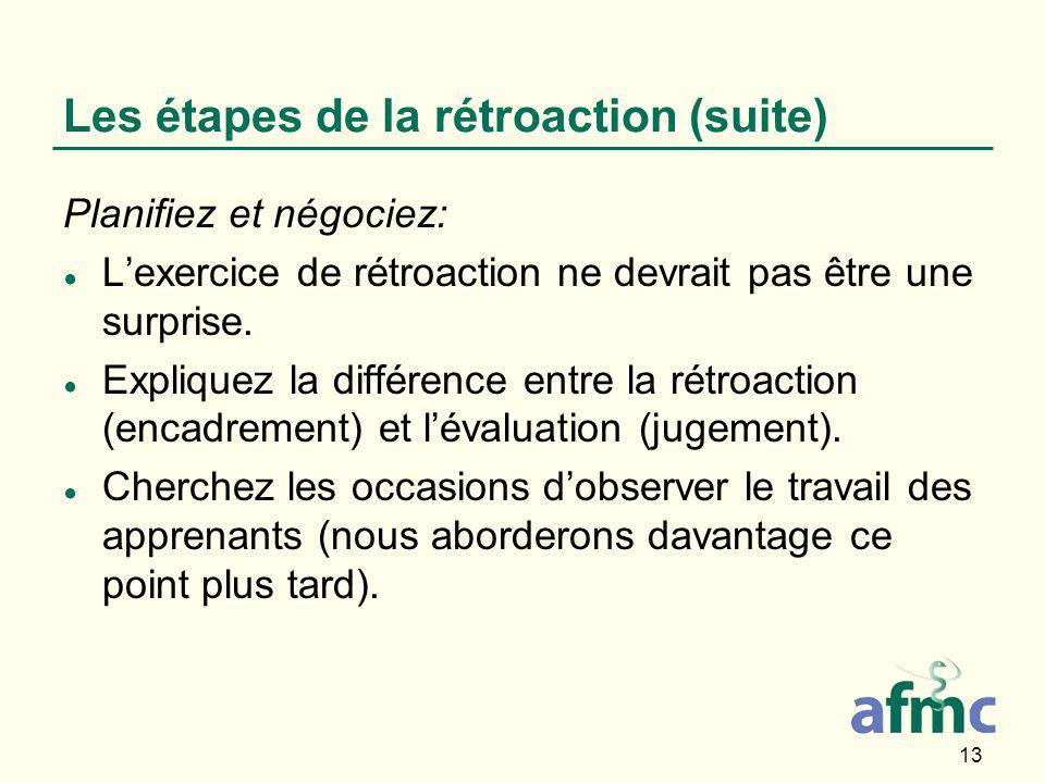13 Les étapes de la rétroaction (suite) Planifiez et négociez: ● L'exercice de rétroaction ne devrait pas être une surprise.