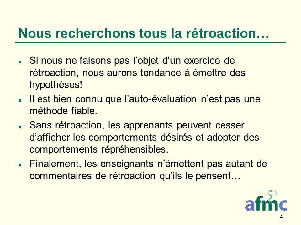 4 Nous recherchons tous la rétroaction… ● Si nous ne faisons pas l'objet d'un exercice de rétroaction, nous aurons tendance à émettre des hypothèses.