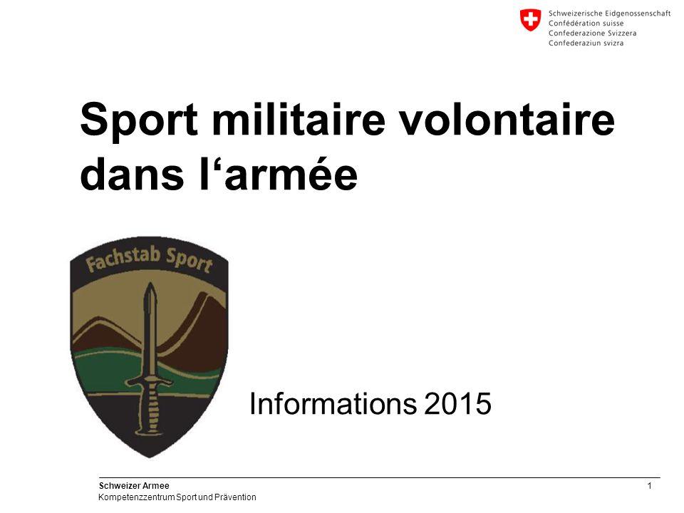 """2 Schweizer Armee Kompetenzzentrum Sport und Prävention Exposé""""Sport militaire volontaire  Introduction  Buts  Aperçu général des possibilités de sport volontaire  Programme 2013 / 2014  Divers/Questions"""