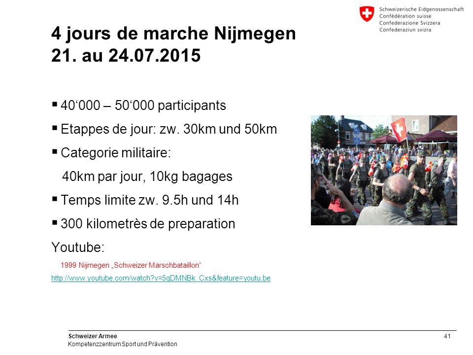 41 Schweizer Armee Kompetenzzentrum Sport und Prävention 4 jours de marche Nijmegen 21.