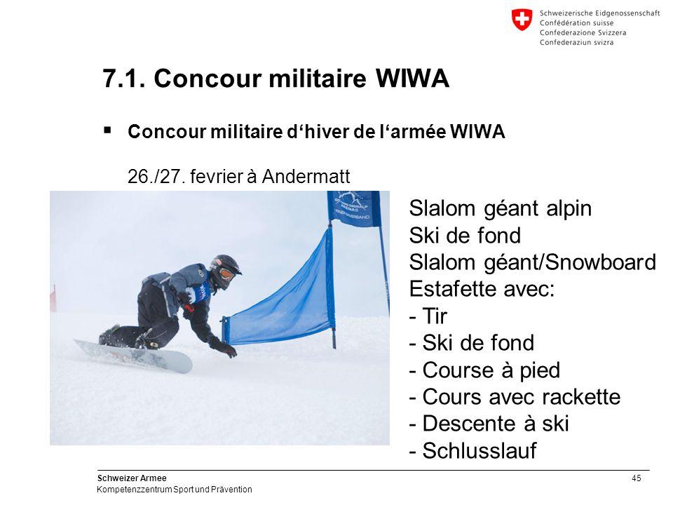 45 Schweizer Armee Kompetenzzentrum Sport und Prävention 7.1.
