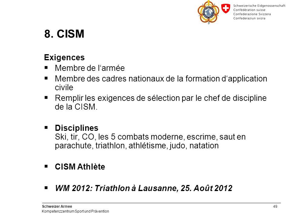 49 Schweizer Armee Kompetenzzentrum Sport und Prävention 8.