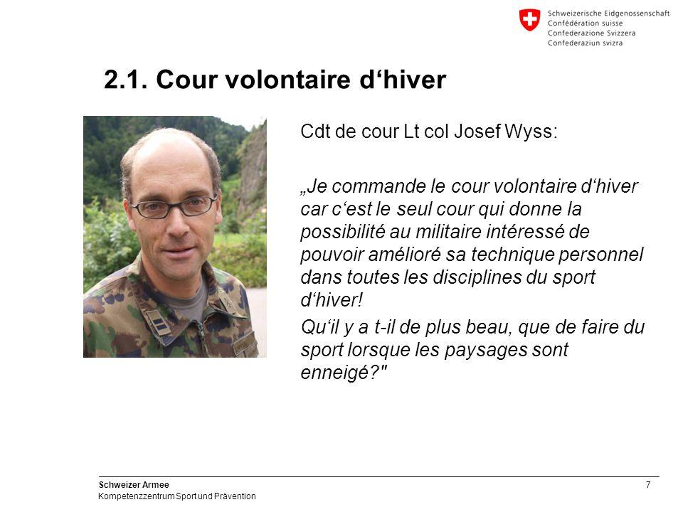 38 Schweizer Armee Kompetenzzentrum Sport und Prävention 3.2. Cour volontaire de sport d'hiver