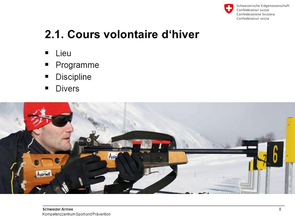 8 Schweizer Armee Kompetenzzentrum Sport und Prävention 2.1. Cours volontaire d'hiver  Lieu  Programme  Discipline  Divers