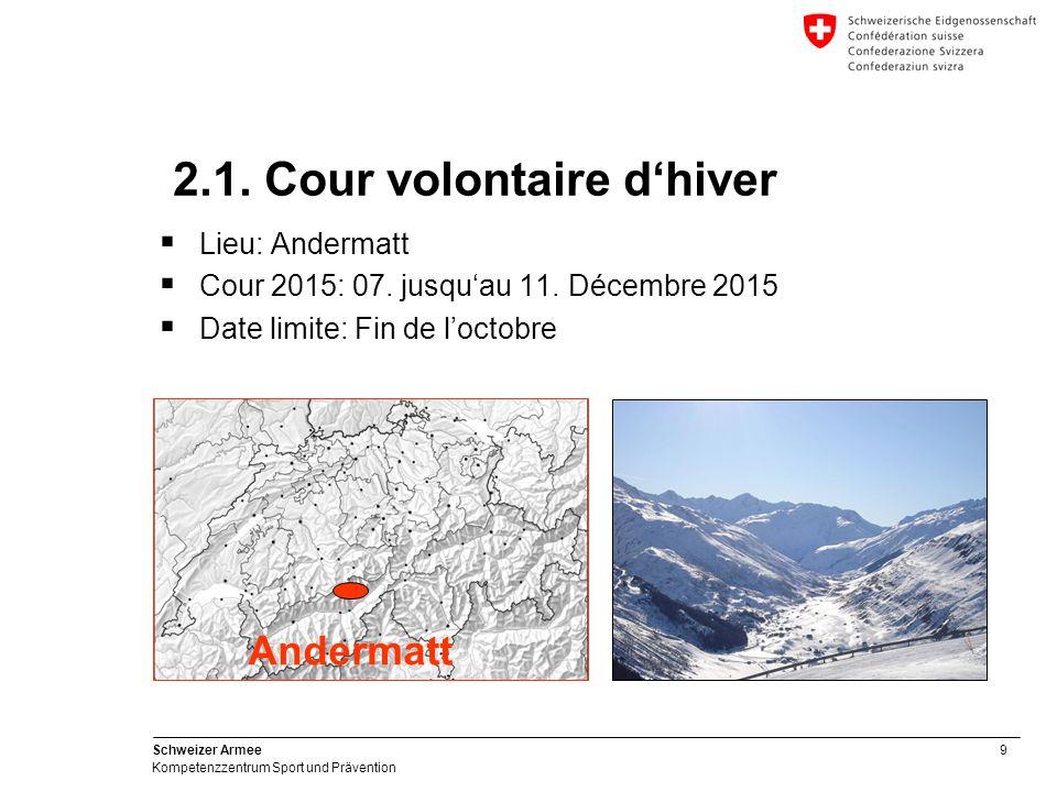 9 Schweizer Armee Kompetenzzentrum Sport und Prävention  Lieu: Andermatt  Cour 2015: 07.